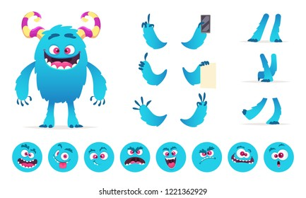 Monster constructor. Eyes mouth emotions parts of cute funny creatures for games vector design creation kit for kids hallowen party. Illustration of monster halloween body, funny creation character