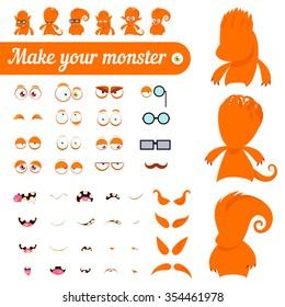 Monster creation kit. Set for construction of vector avatars monsters.