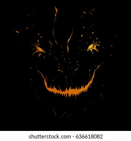 Monster in the dark, fall in the fire, burning eyes of the monster