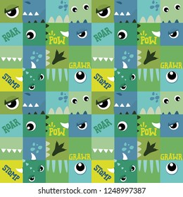 Monster Dinosaur Eyes Cute Green Blue Squares Seamless Pattern Vector Illustration