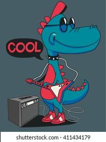 monster, dinosaur rock star vector design for tee shirt