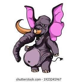 Monster elephant cartoon Vector. Funny and scary Animals cartoon character illustration clipart