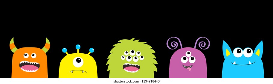 Monster face set. Cute cartoon scary funny character. Happy Halloween. Colorful silhouette. Baby collection. T-shirt design. Black background. Flat design. Vector illustration