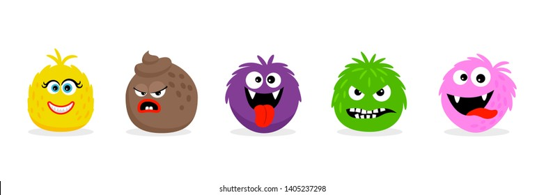 Monster faces emoticons. Vector cartoon funny angry and smile cartoon emojis. Illustration of angry monster face, emoji character smile