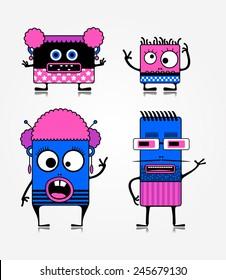 Monster family. Vector illustration