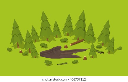 Monster footprint in the forest. 3D lowpoly isometric vector concept illustration
