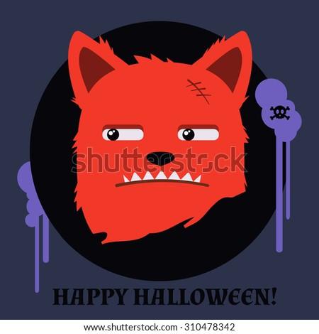 Monster Fox Halloween Happy Halloween Card Stock Vector Royalty