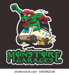 monster garage logo design template with car