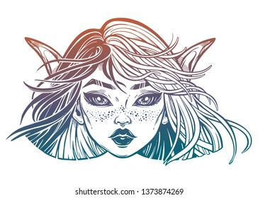 Monster girl. Young elf magic woman with long ears and two color plit hair blown by the wind. Alchemy, tattoo art, t-shirt design, adult coloring book page. Isolated vector. Pagan goddess.