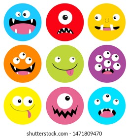 Monster head round icon set. Boo Spooky Screaming smiling sad face emotion. Three eyes, tongue, teeth fang, mouse. Happy Halloween card. Flat design style. White background. Vector illustration