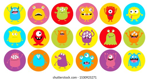 Monster head super big round icon set. Happy Halloween. Boo Spooky Screaming smiling sad face emotion. Three eyes, tongue, teeth fang, mouse. Flat design style. White background. Vector illustration