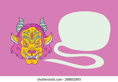 monster head  in tribal rave style with talking bubble.  isolated illustration. great for design t-shirts, merchandise Youth