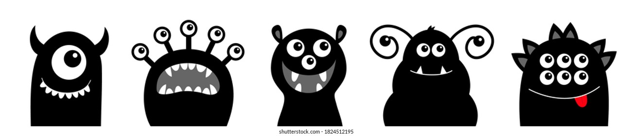 Monster icon set line. Happy Halloween. Funny face head black silhouette. Cute cartoon kawaii baby character. Eyes teeth fang tongue. Flat design. White background. Vector illustration