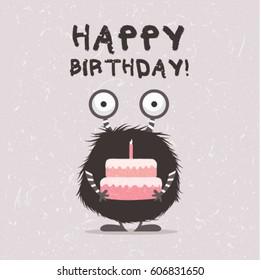 Monster illustration with birthday cake