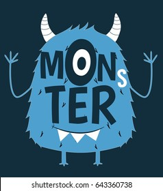 monster illustration vector for print design.