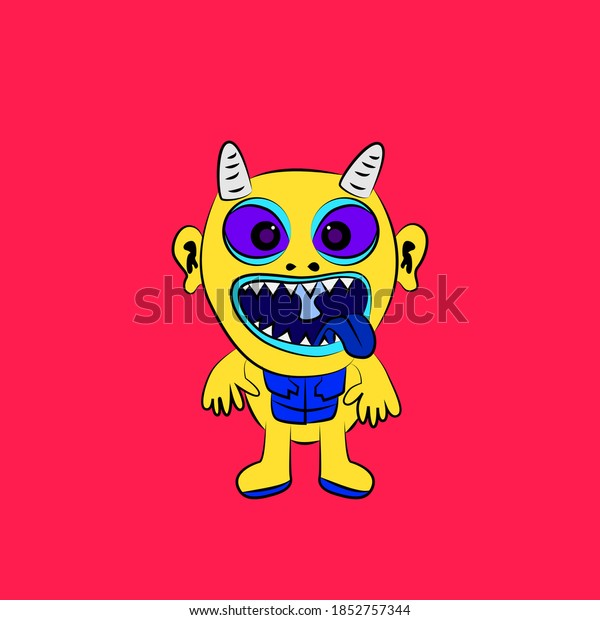 monster laughing out loud, streetwear or t-shirt design