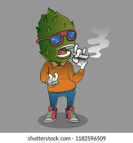 monster mascot cannabis leaf