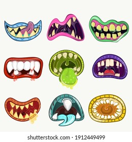 Monster mouths set. Cartoon halloween teeth and tongue of creatures. Funny facial expression, open mouth with tongue and drool.