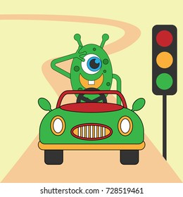 monster obeys the signs of traffic signs vector cartoon