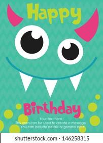 Monster Party Card Design Vector Illustration Happy Birthday