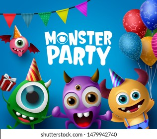 Monster party design vector concept. Cute scary monster characters in monster party text with colorful party elements like balloons in blue background. Vector Illustration.