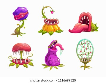 Monster plans set illustration. Vector fantasy scary flower icons.