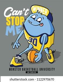 monster playing basketball vector design
