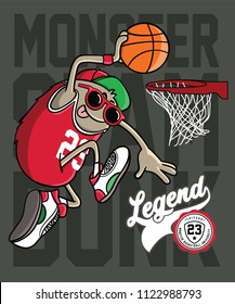 monster playing basketball vector design