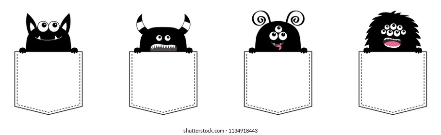 Monster pocket set. Holding hands. Black silhouette. Cute cartoon scary funny character. Happy Halloween. Baby collection. T-shirt design. White background. Flat design. Vector illustration