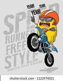 monster riding a motorbike  vector design