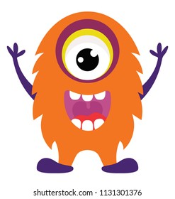 Monster screaming in fear, one eyed monster or cyclops flat icon image