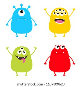 Monster set. Cute cartoon colorful scary character. Eyes, tongue, hands up. Funny baby collection. White background Isolated. Happy Halloween card. Flat design. Vector illustration