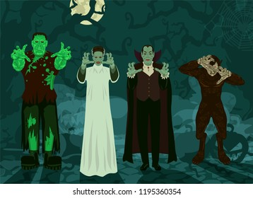 monster set Halloween theme background Frankenstein, Dracula, Bride, Werewolf trees, roots, pumpkins, fog and a full moon (set 1/2)