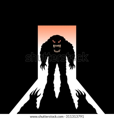 monster shadow open door stock vector royalty free 311313791