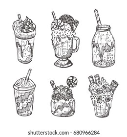 Monster shake isolated set. Chocolate, waffles, candy, cookies, macaron, marshmallow. Hand drawn vector illustration. Can be used for restaurant, cafe, bar, menu, sticker, logo, emblem, label.