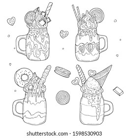 Monster shakes. Hand drawn vector illustration. Monochrome black and white ink sketch. Line art. Isolated on white background. Coloring page.