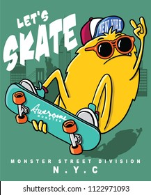 monster skateboarding vector design