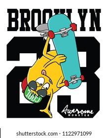 monster skateboarding vector design