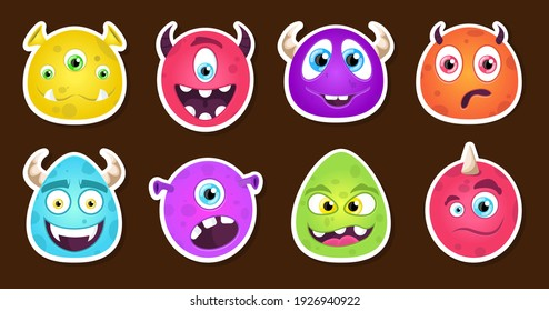 Monster sticker big set. Patch. Face. Vector illustration design.