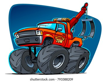Monster Tow Truck. Cartoon Vector  ILLustration
