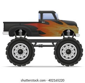 monster truck car pickup vector illustration isolated on white background