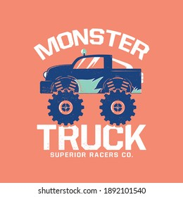 monster truck cartoon drawn as vector for kids fashion