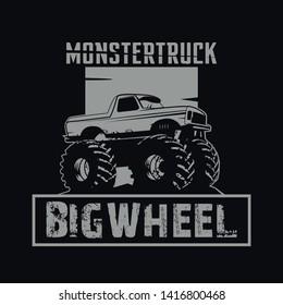 monster truck, a design automotive for t shirt, clun, community etc