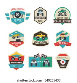 Monster truck emblems set with high power vehicles isolated vector illustration