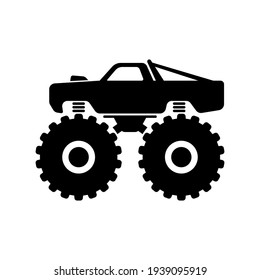 Monster truck icon. Black silhouette. Side view. Vector simple flat graphic illustration. The isolated object on a white background. Isolate.