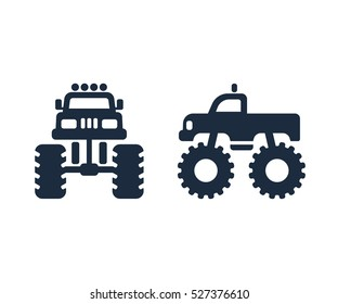 Monster truck icon set. Front and side view silhouette.