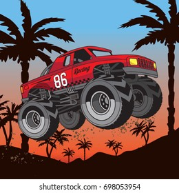 Monster truck illustration, tee shirt graphics, vectors, typography