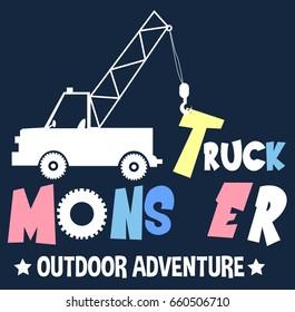monster truck illustration vector for print design.