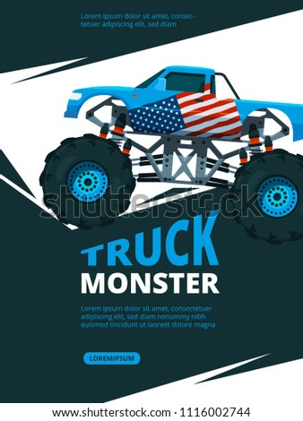 Monster truck poster. Design template of retro placard with.