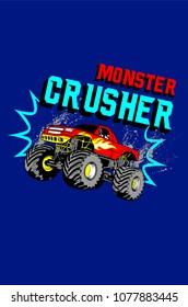 Monster truck t-shirt print poster vector illustration